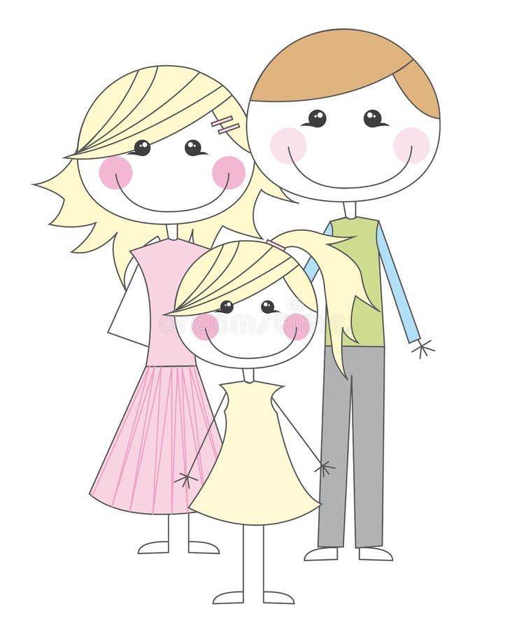 lycklig tecknad filmfamilj royaltyfri illustrationer