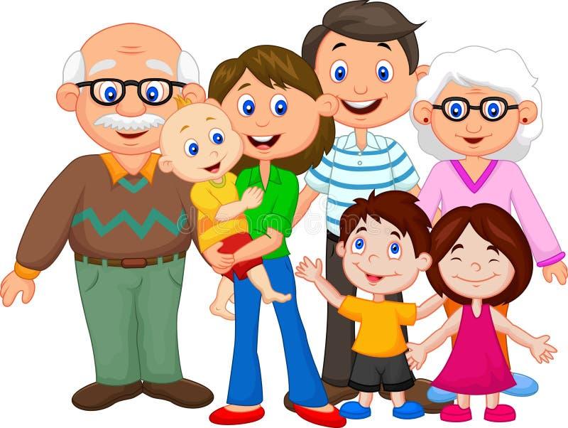 lycklig tecknad filmfamilj vektor illustrationer