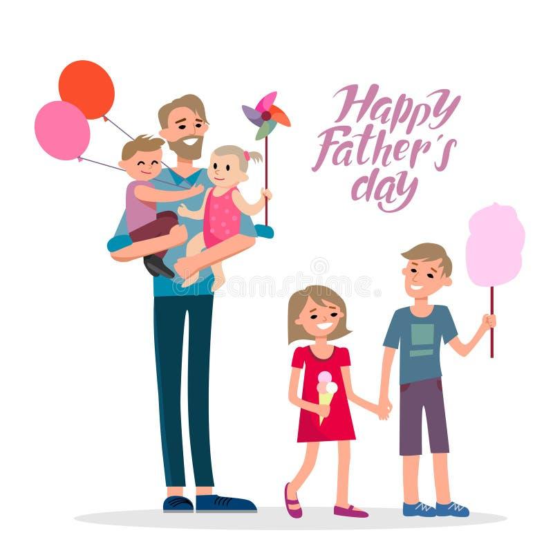 lycklig tecknad filmfamilj stock illustrationer