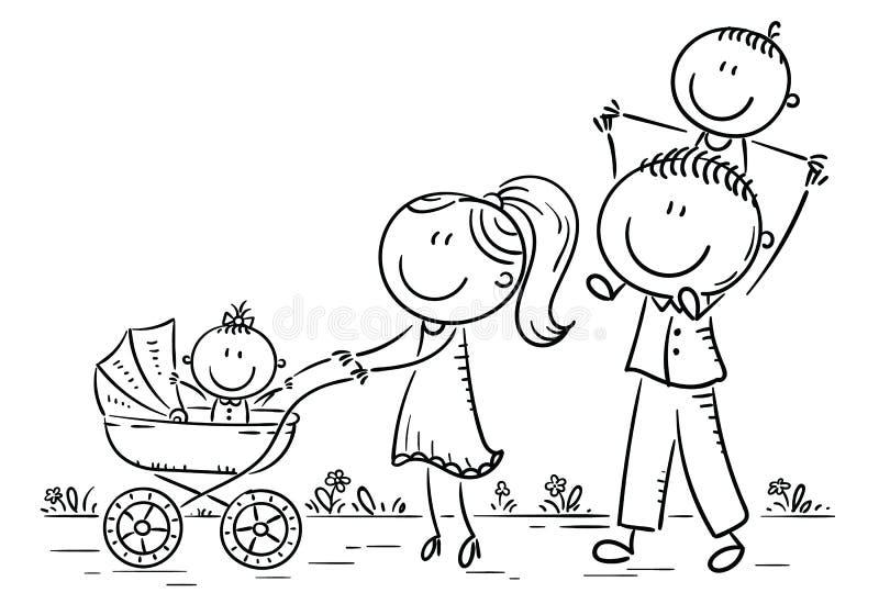 Lycklig tecknad filmfamilj med två barn som utomhus går, översikt stock illustrationer