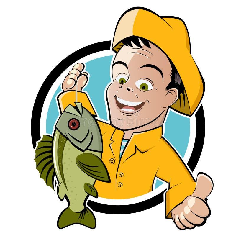 lycklig tecknad filmfiskare royaltyfri illustrationer