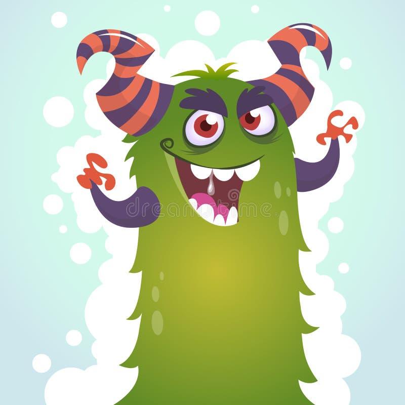 Lycklig tecknad filmgräsplan och fluffigt horned monster Vykort för allhelgonaaftonvektortecken royaltyfri illustrationer