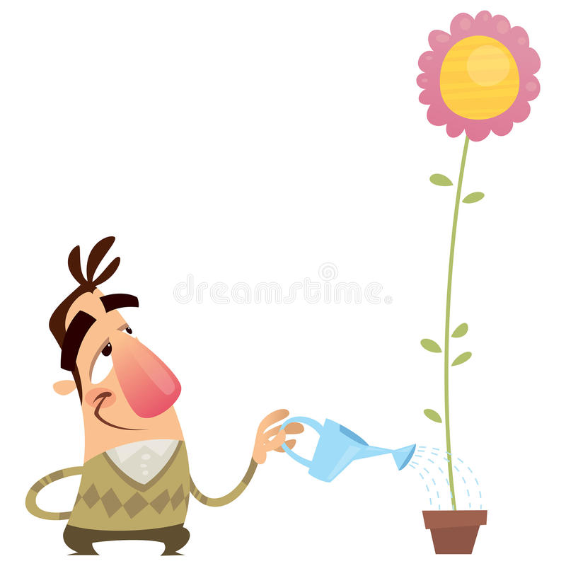Lycklig tecknad filmmanträdgårdsmästare som bevattnar blomman, att växa snabbt royaltyfri illustrationer