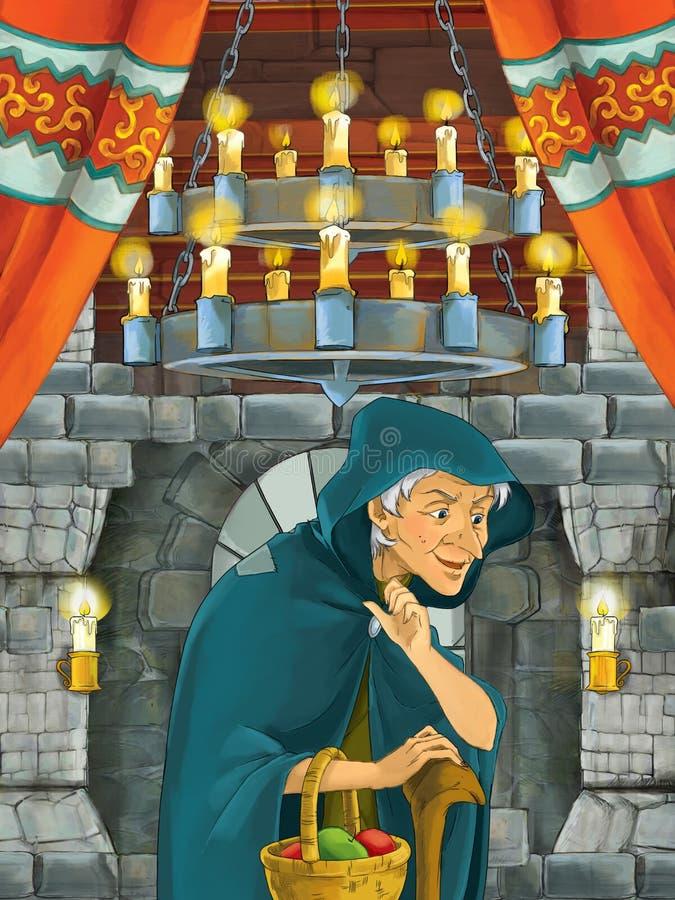 Lycklig tecknad filmplats med trollkvinnan eller tjänaren för bondekvinnahäxa i slottrum royaltyfri illustrationer