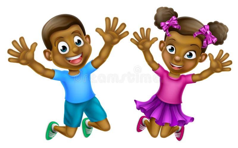 Lycklig tecknad filmpojke och flicka royaltyfri illustrationer