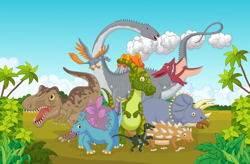 Lycklig tecknad filmsamlingsdinosaurie stock illustrationer