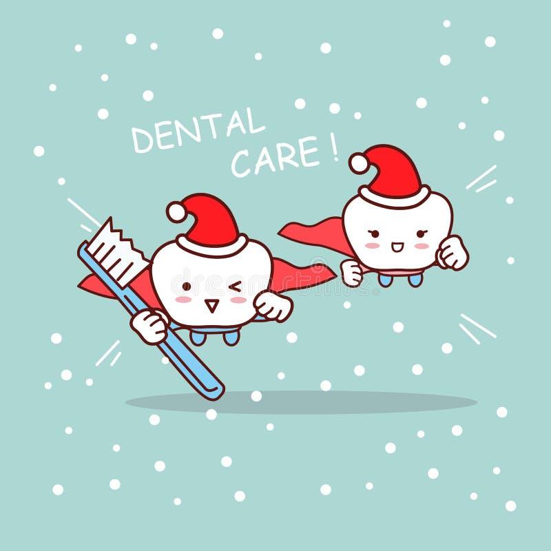 Lycklig tecknad filmtand och tandläkare vektor illustrationer