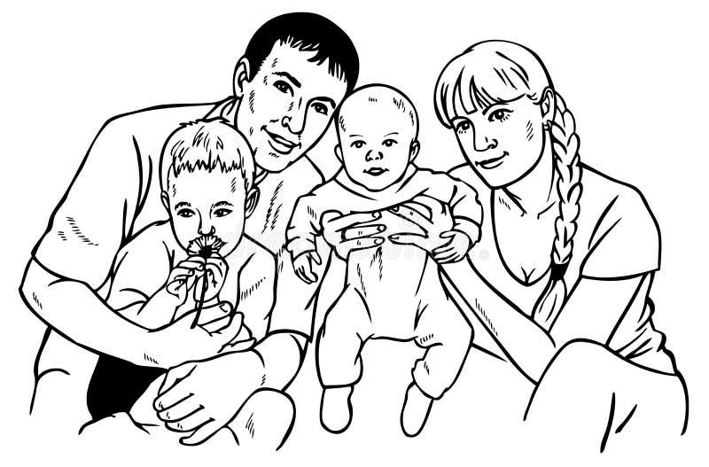 lycklig teckningsfamilj stock illustrationer