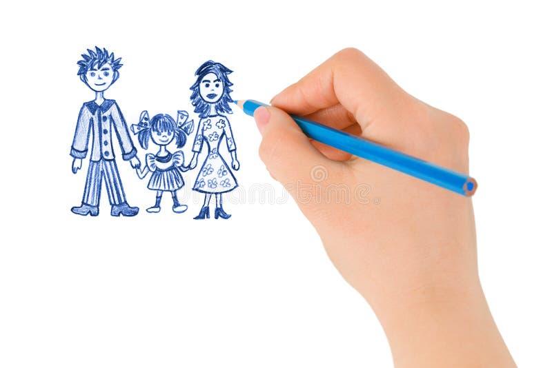 lycklig teckningsfamiljhand royaltyfri fotografi