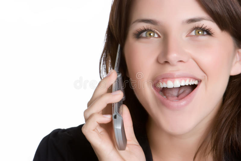 lycklig telefonkvinna royaltyfria bilder