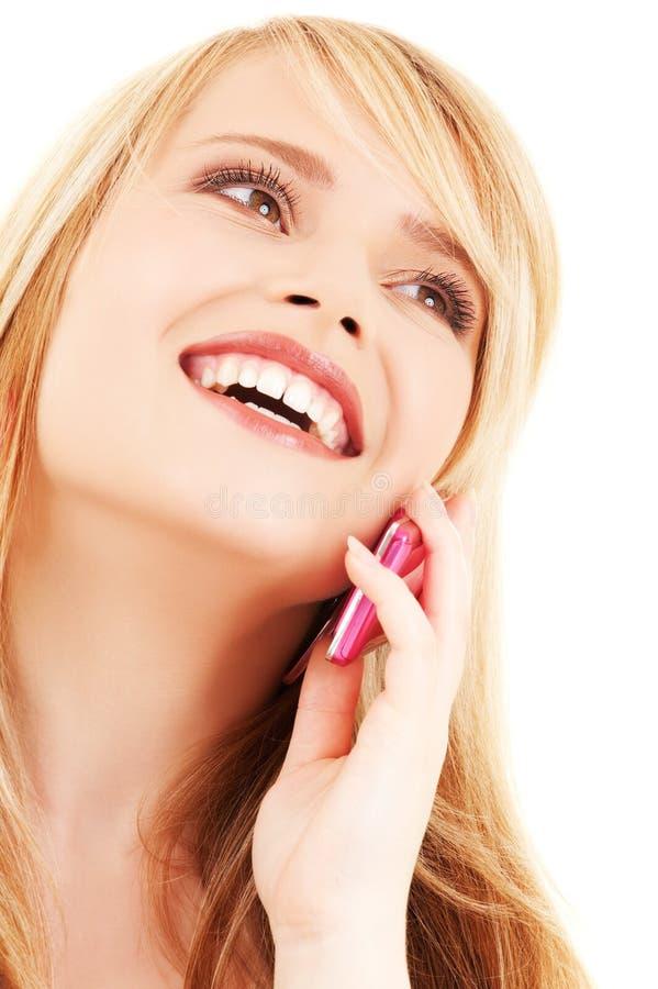 lycklig telefonpink för flicka fotografering för bildbyråer