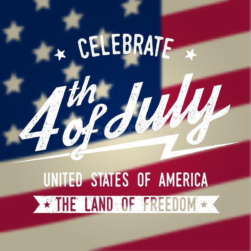 Lycklig 4th av den juli designen i retro stil Fjärdedel av det Juli hälsningkortet på den amerikanska nationsflaggan vektor illustrationer