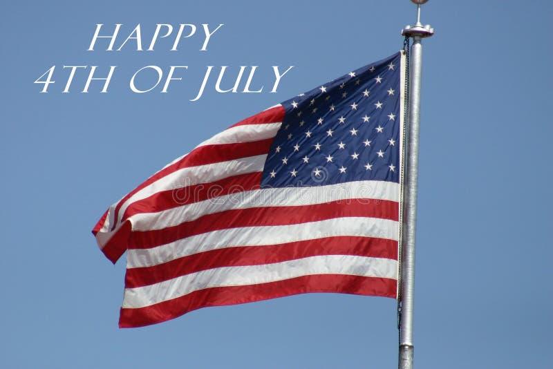 Lycklig 4th av den Juli flaggan arkivfoto