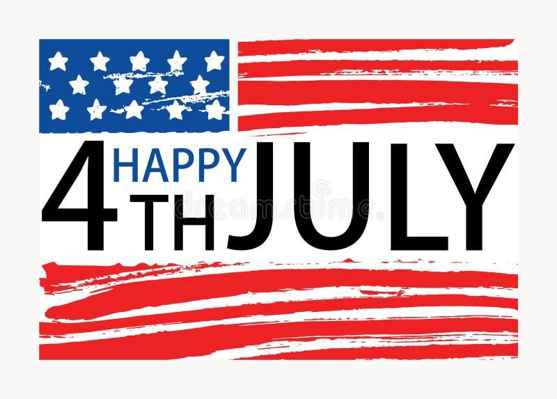 Lycklig 4th av den Juli inskriften som är skriftlig på den amerikanska nationsflaggan Amerikas förenta statersjälvständighetsdage royaltyfri illustrationer
