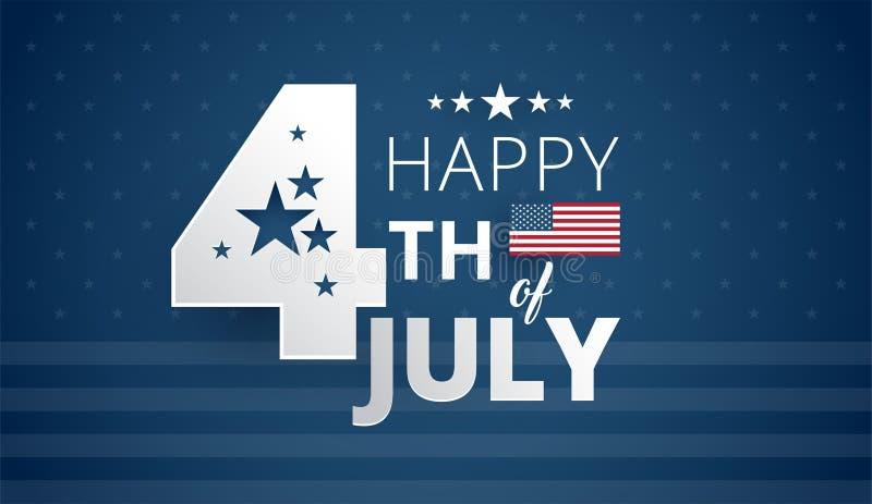 Lycklig 4th av den Juli självständighetsdagen USA - blå bakgrundsvektor royaltyfri illustrationer