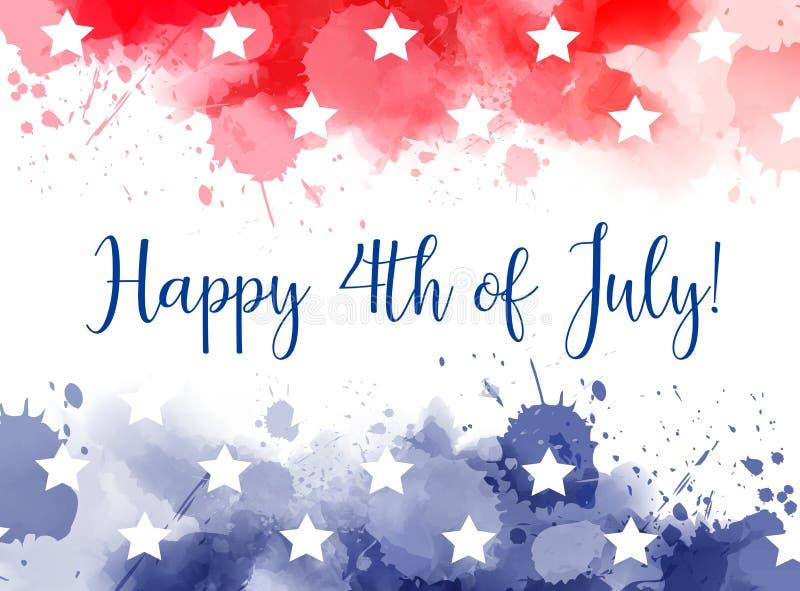 Lycklig 4th av den Juli vattenfärgen plaskar bakgrund royaltyfri illustrationer