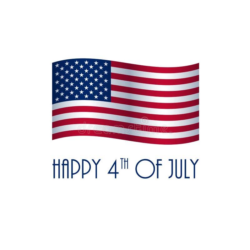 LYCKLIG 4th av det JULI kortet med amerikanska flaggan stock illustrationer