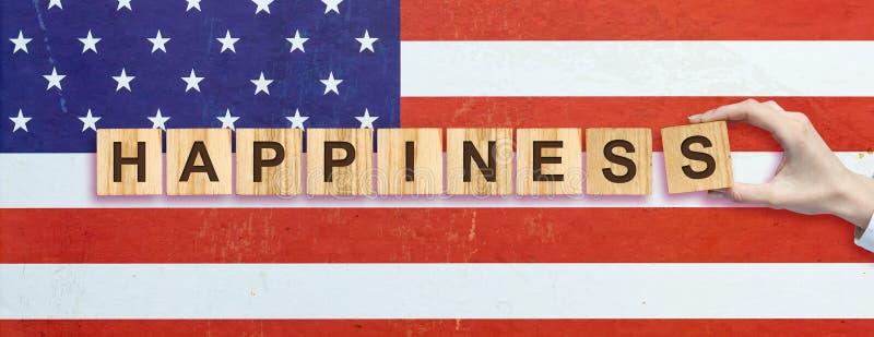 Lycklig 4th av Juli bakgrund SjälvständighetsdagenAmerikas förenta staterbakgrund Inskriften på bakgrunden av USA royaltyfri fotografi