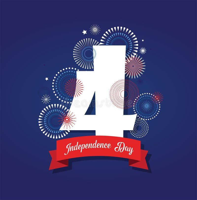 Lycklig th Juli för USA självständighetsdagen 4 Design för hälsningkort och affisch nummer 4 på fyrverkerinattbakgrund stock illustrationer