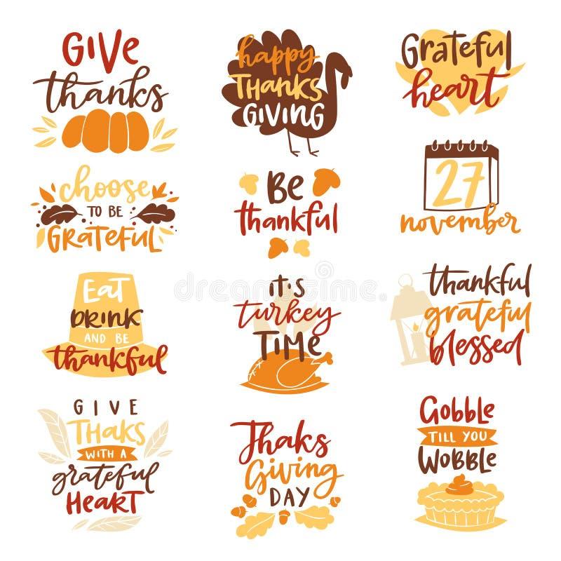 Lycklig tid för matställen för familjen för bokstäver för vektorn för tacksägelsetextlogoen firar tillsammans skördtid att säga t royaltyfri illustrationer