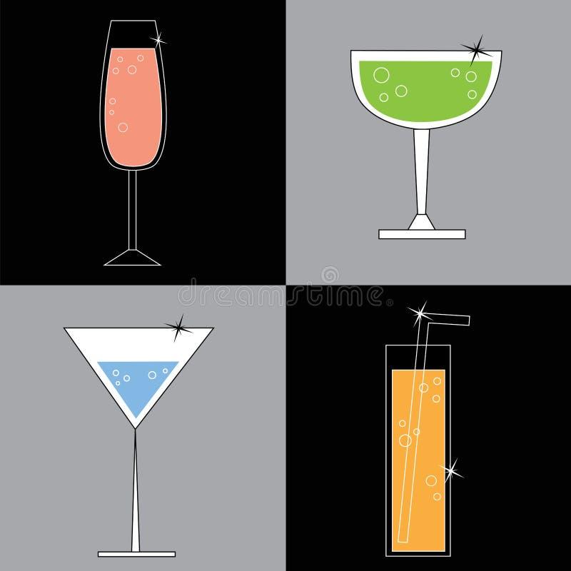 Lycklig timme vektor illustrationer