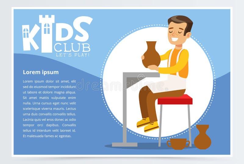 Lycklig tonåringpojke som gör keramiska krukor Idérik blå affisch för ungeklubba, konstskola eller hantverkgrupp Plan tecknad fil stock illustrationer