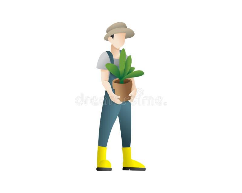 Lycklig trädgårdsmästareman som rymmer en blomkruka royaltyfri illustrationer