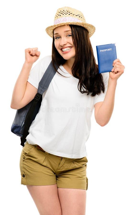 Lycklig turist för ung kvinna som isoleras på vit bakgrund royaltyfria foton