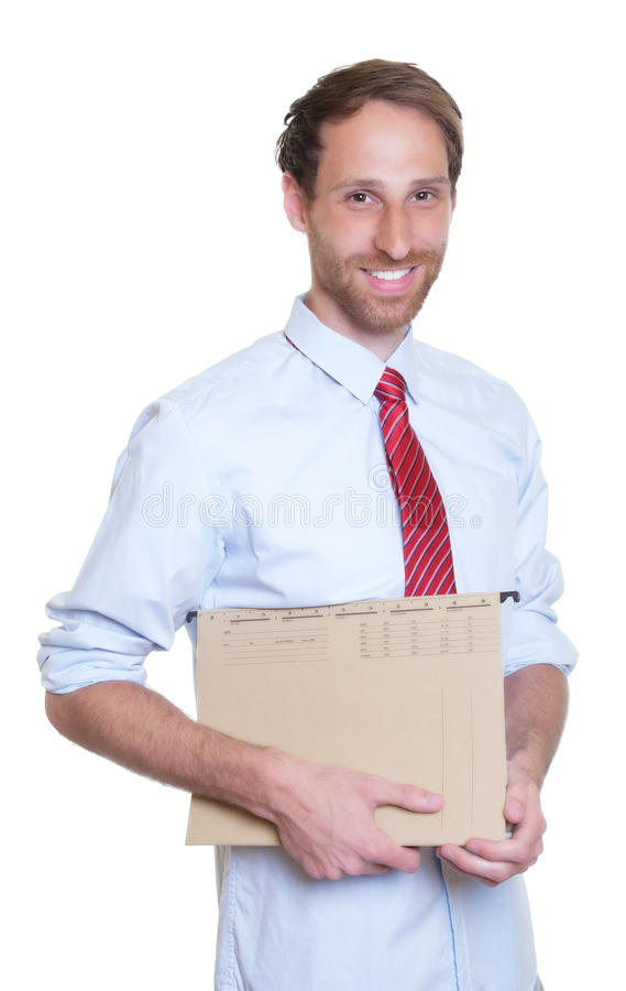 Lycklig tysk affärsman med mappen arkivfoto