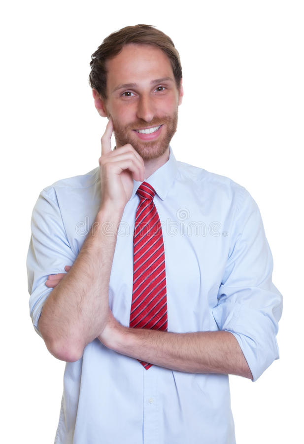 Lycklig tysk affärsman med skägget arkivfoto