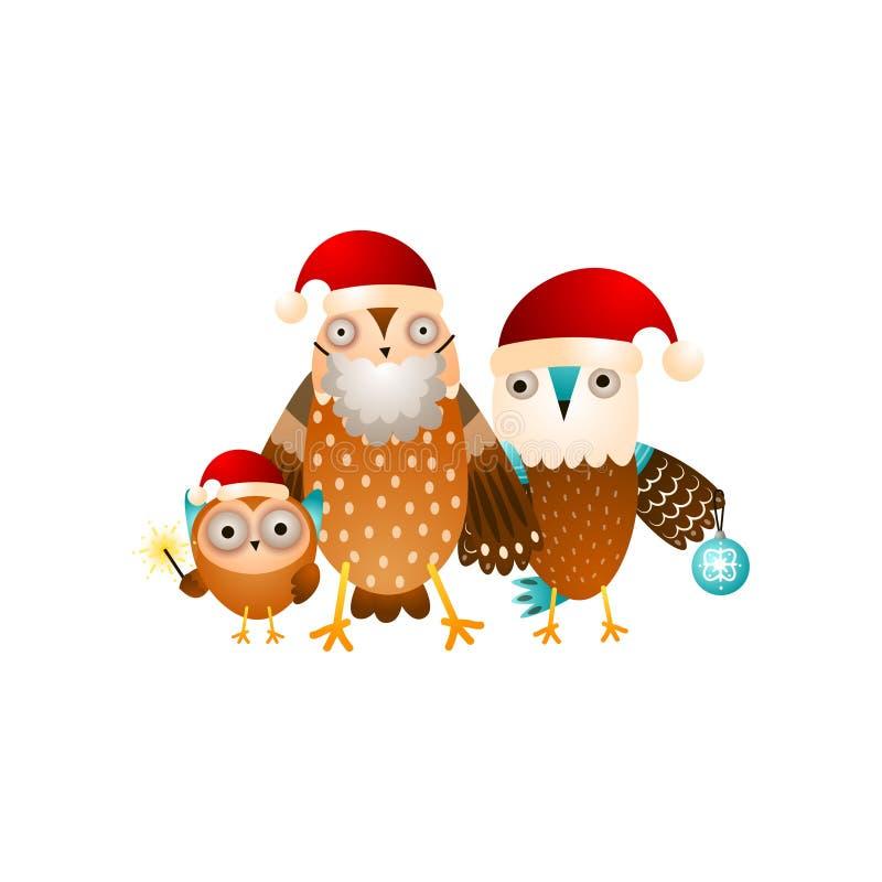 Lycklig ugglafamilj som är klar för julferie i santa hattar royaltyfri illustrationer