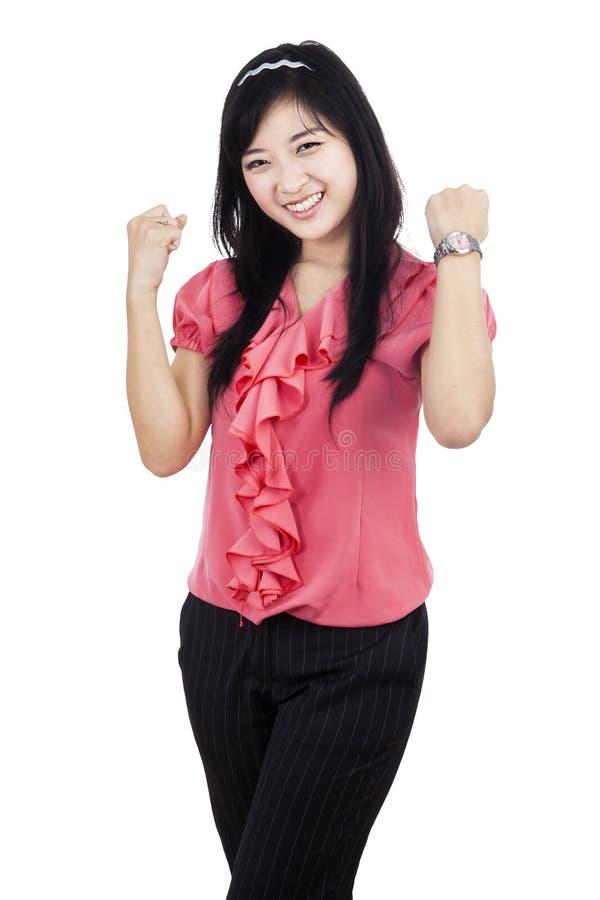 Lycklig ung affärskvinna royaltyfri bild