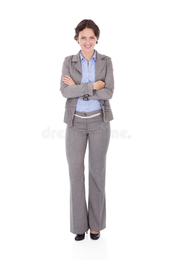 Lycklig ung affärskvinna arkivfoto