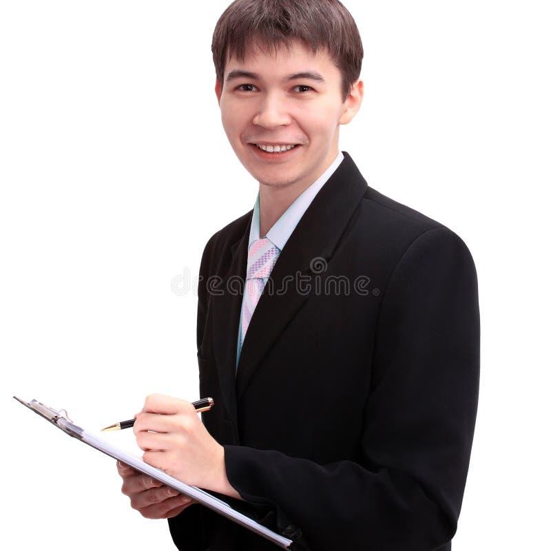 Lycklig ung affärsman, closeupstående av asiatet med att le uttryck på vit bakgrund arkivbilder