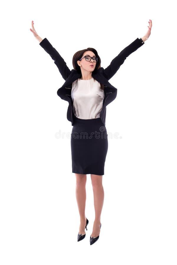Lycklig ung banhoppning för affärskvinna som isoleras på vit royaltyfri foto