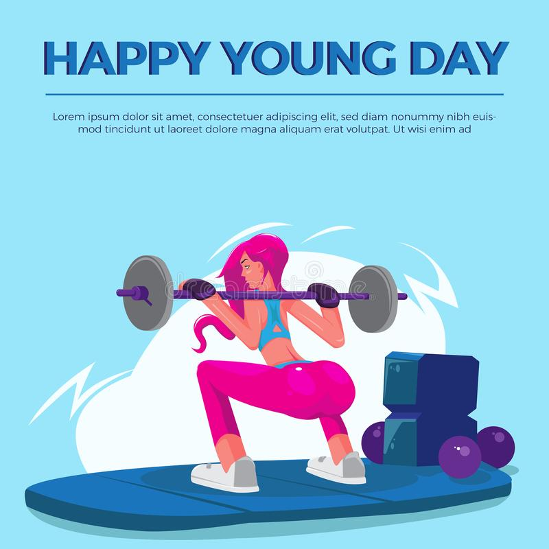 Lycklig ung dagkvinnaidrottshall royaltyfri illustrationer