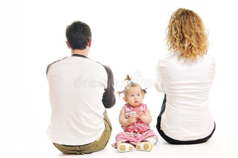 Lycklig ung familj arkivfoto
