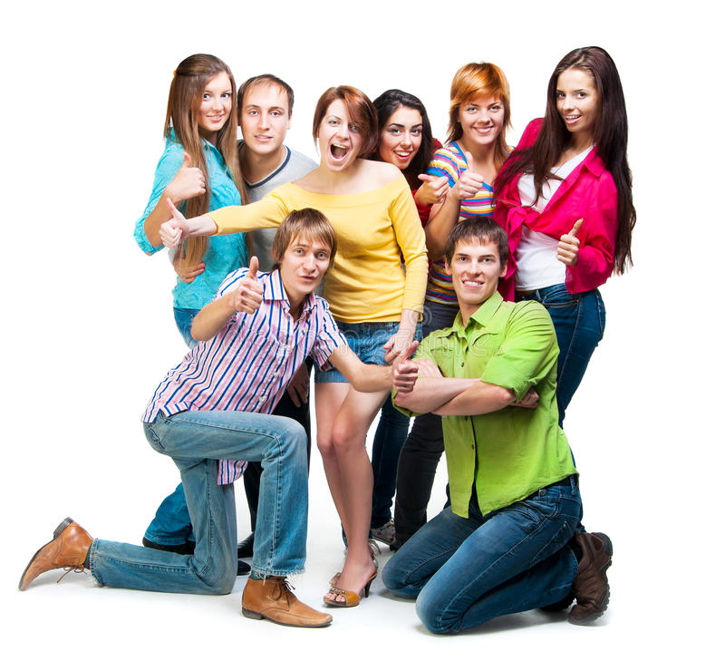 Lycklig ung grupp människor fotografering för bildbyråer