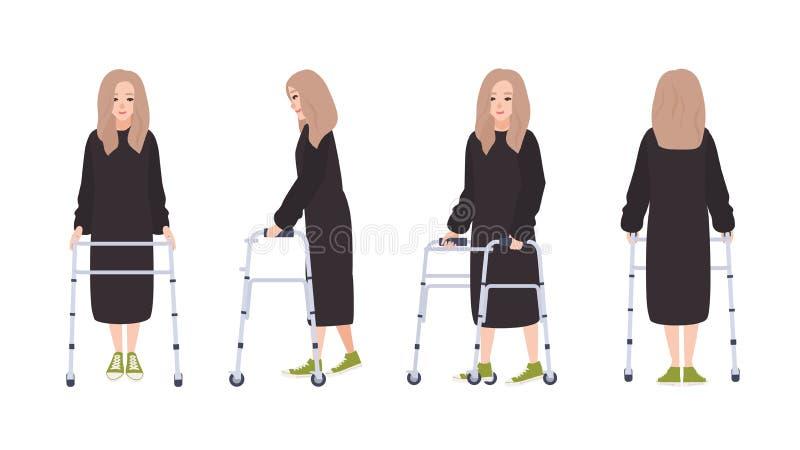 Lycklig ung kvinna med att gå ramen eller fotgängaren som isoleras på vit bakgrund Kvinnligt tecken med fysiskt handikapp royaltyfri illustrationer