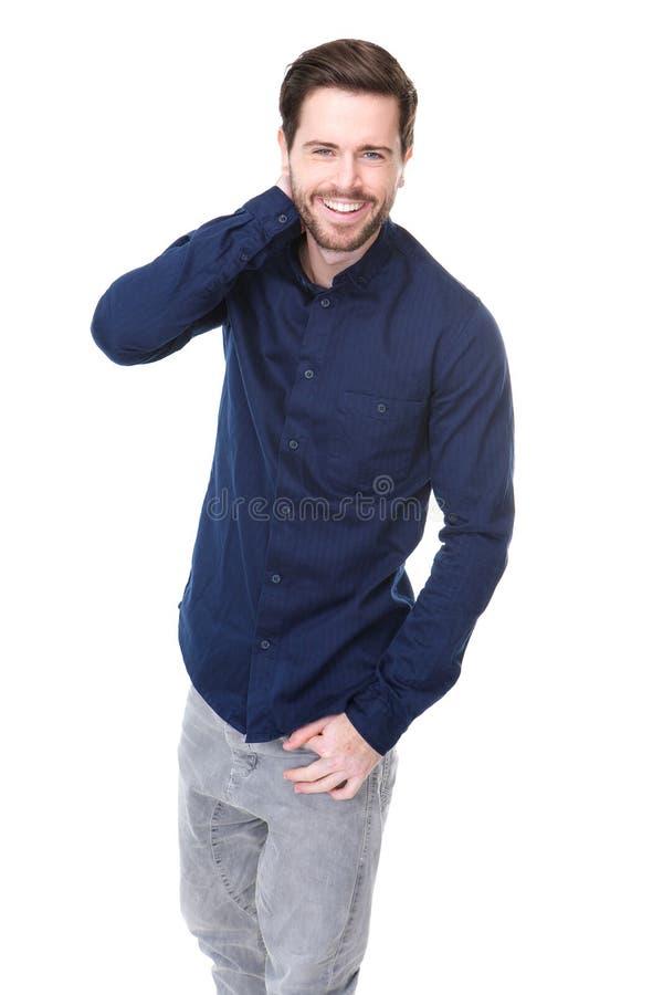 Lycklig ung man med att skratta för skägg royaltyfri bild