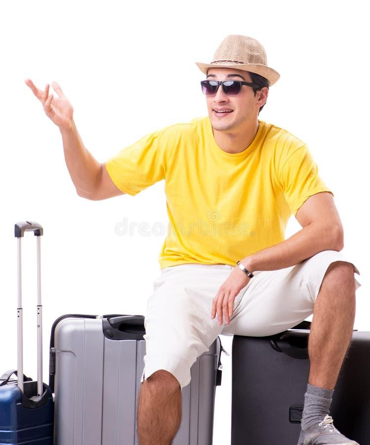Lycklig ung man som g?r p? sommarsemestern som isoleras p? vit royaltyfria foton