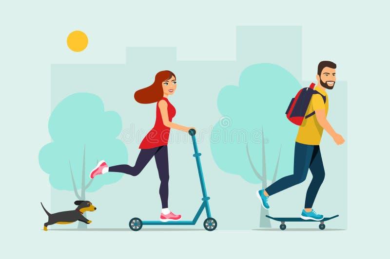 Lycklig ung man som rider en skateboard, ritter för ung kvinna på en sparkcykel och en hund vektor illustrationer