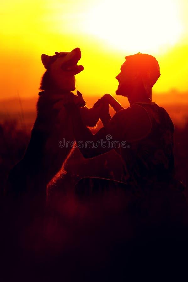 Lycklig ung man som spelar med hans skrovliga hund för vän royaltyfria foton