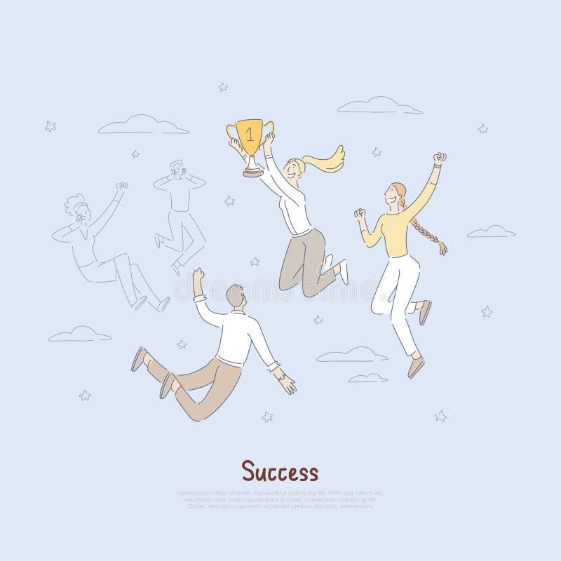 Lycklig ung trofé för affärskvinnainnehavmästare, ledarskapmetafor, företags prestationbaner vektor illustrationer