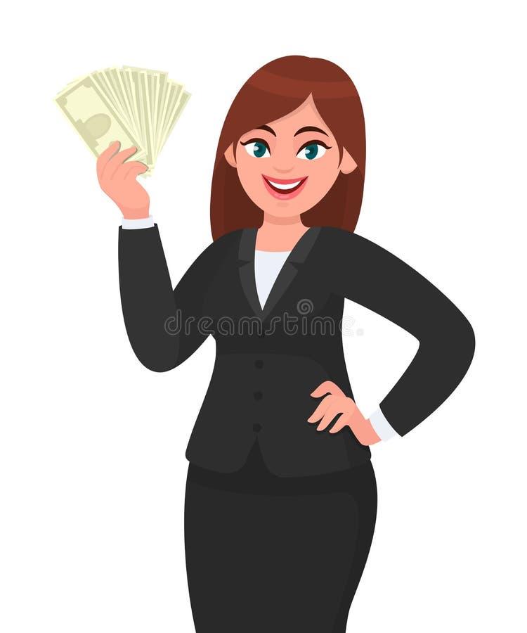 Lycklig ung visning för affärskvinna/rymma kassa, pengar, dollaren, valuta eller sedlar och rymma handen på höft modern livsstil royaltyfri illustrationer