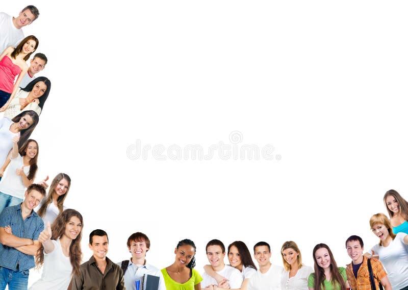 Lycklig ungdomargrupp royaltyfria bilder