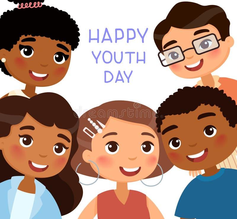 Lycklig ungdomdagaffisch Internationella unga flickor och unga pojkevänner stock illustrationer