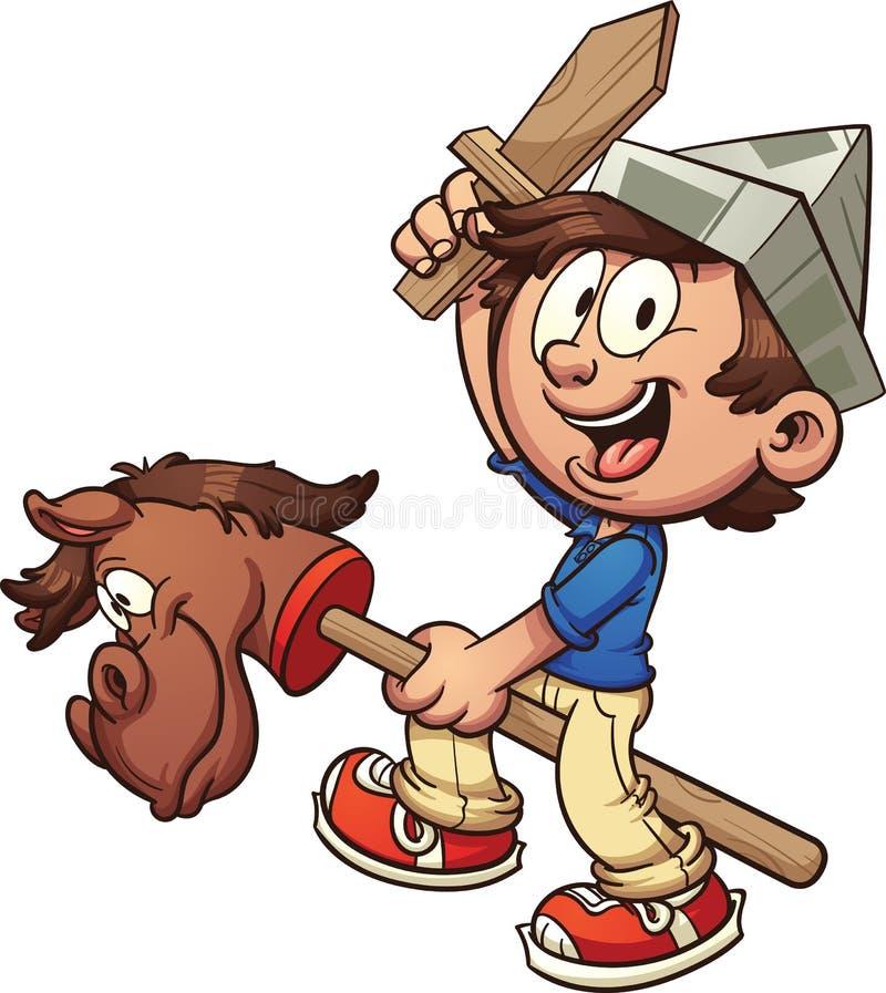 Lycklig unge med pinnehästen stock illustrationer