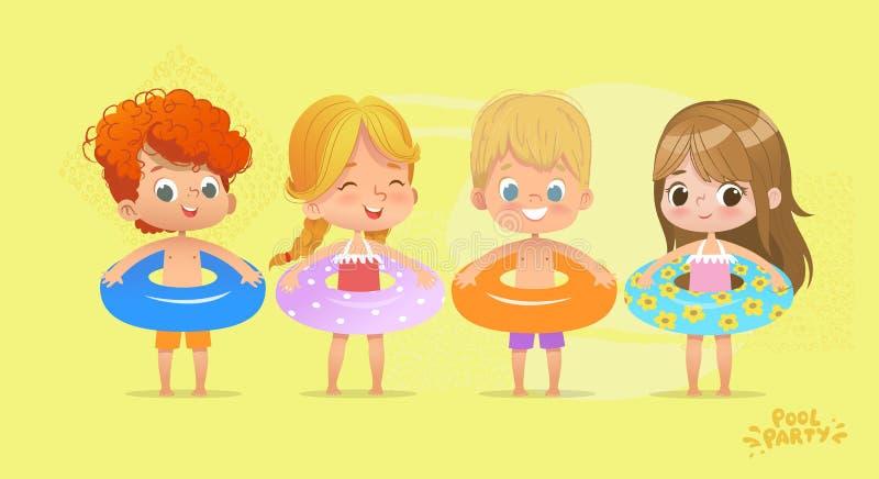 Lycklig ungefödelsedag Tid på simbassängsemester Roliga flickor och pojkar i baddräkt Vattenlek med den tropiska livbojet royaltyfri illustrationer