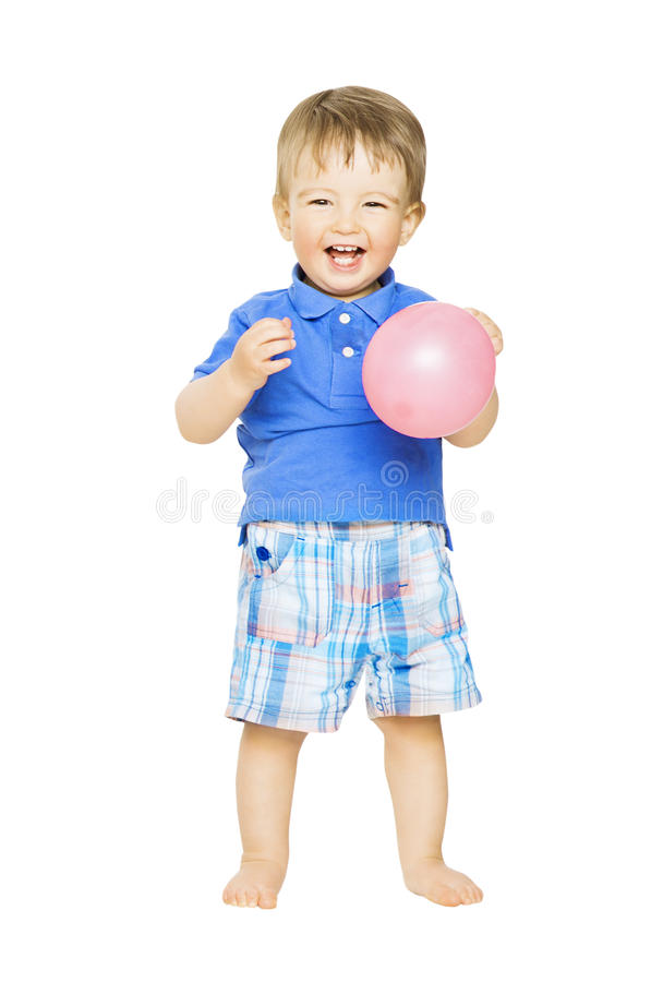 Lycklig ungepys med ballongen Barn som ler I royaltyfri bild